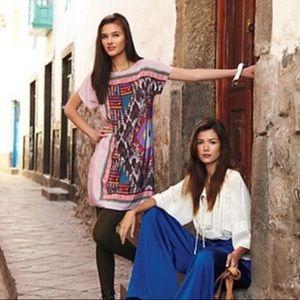 Anthro Heyhoe Askew Ikat Silk Shift Dress Y1519